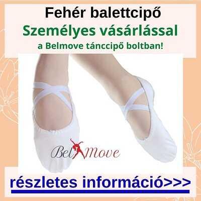 Több méretben fehér balettcipő vásárlás a táncszaküzletben személyesen